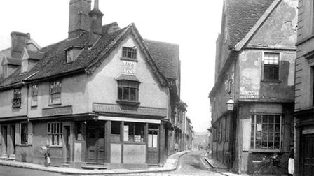 Angel Lane (centre) and St Clements Church Lane (right) off Fore Street led to The Potteries . This