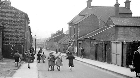 Station Street, Ipswich, in the 1950s when children were able to play in the road with few passing c