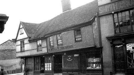 Shops in Fore street, Ipswich, from the junction with Angel Lane, close to the swimming baths. Pictu