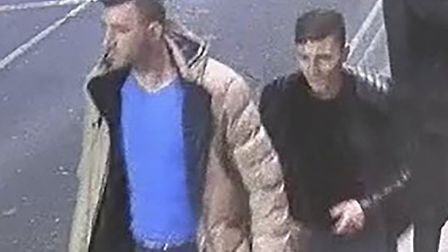 CCTV images of two men police want to speak to in connection with a rape in Ipswich. Picture: SUFFOL
