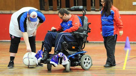 Ipswich Charioteers Wheelchair Football Club during a session in 2015. Picture: Lucy Taylor