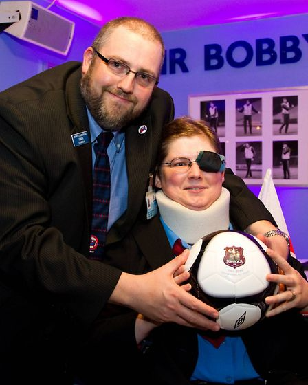 Simon and Claire O'Brien-Ellington during a Suffolk FA event. Picture: Stephen Waller