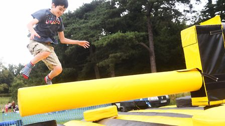 Callum Durnan on the sweeper at one of last year's Holywells Park famil Fun Days. Picture: Lucy Tayl