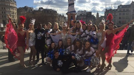 One sixth form's Ballistics cheerleading squad with other performers in Trafalgar Square for the Bri