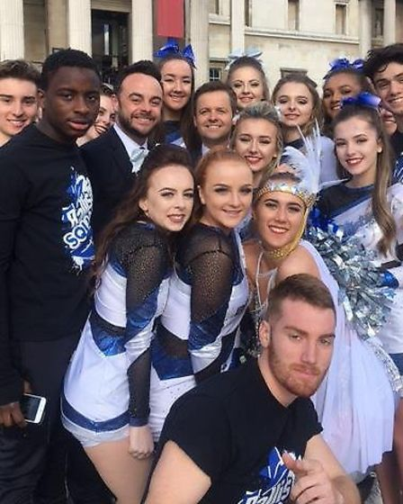The Ballistics cheerleading squad from one sixth form in Ipswich with Britain's Got Talent hosts Ant