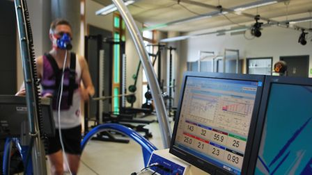 Sports students tested James Nial's fitness ahead of his run. Picture: University of Suffolk