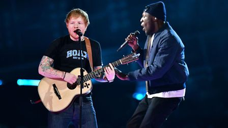 Ed Sheeran performing on stage at the Brit Awards at the O2 Arena, London. Picture: Dominic Lipinski