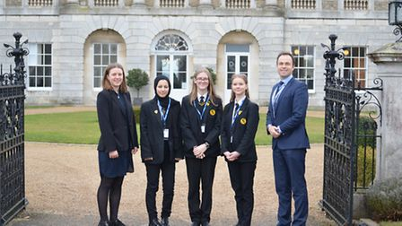 Stoke High School pupils Maryam Temory (Second left), Ruby Sibthorpe (centre) and Krista Lineja (sec