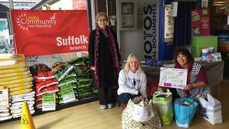 (L-R) Mandy Gaylard, Jane Basham and Shelly Darwin ask shoppers at Rosehill Co-op for donations of s