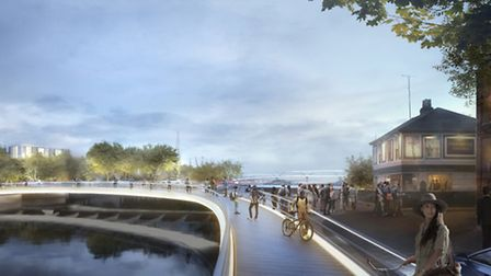 The lock bridge for pedestrians and cyclists - part of the Upper Orwell Crossings by Foster + Partne