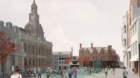 Architects' impression of the new look for Ipswich Cornhill - seen from Tavern Street.