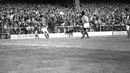 Gates taking one of shots that would add to his eventual hat-trick against Cardiff in the FA Cup