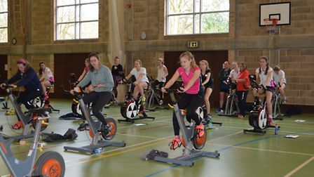 Pupils at Ipswich High School for Girls taking part in the extreme triathlon to raise money for Ipsw