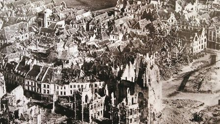 The ruins of Arras, familiar to the men of the Suffolk Regiment during the war. The people of Suffol