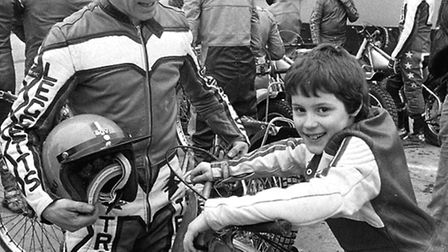 The then Ipswich Speedway team captain John Louis with his son Chris during a pre season practice se