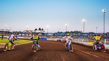 Lasse Bjerre, Danny King, Jonas B. Andersen and Nico Covatti race from the tapes in heat thirteen of