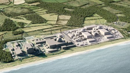 A computer-generated image of how the Sizewell nuclear complex would look after construction of Size