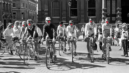 Cyclists from Northgate High School, Ipswich, on the Cornhill in July 1985