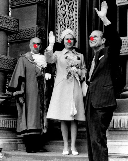 The Queen and Prince Phillip on the steps of Ipswich Town Hall with Mayor David Myer, 1977