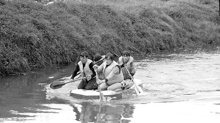 Members of the Boys Brigade participating in water rafting races in Ipswich in 1983