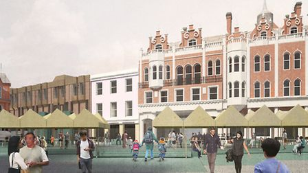 Architects' impression of the new look for Ipswich Cornhill - space will be created for market stall
