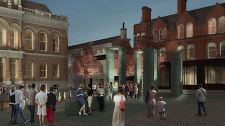 Architects' impression of the new look for Ipswich Cornhill - the sculpture should be lit at night.