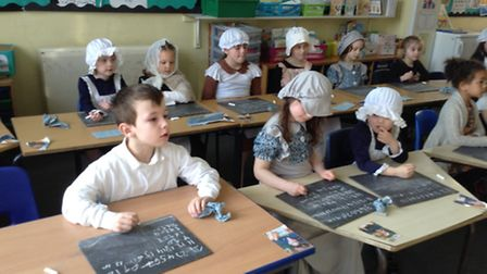 Children dressed in Victorian-era clothes to mark the 175th birthday of Tattingstone Primary School