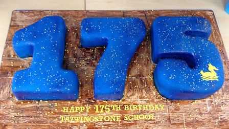 The cake specially made to commemorate Tattingstone Primary School's 175th birthday