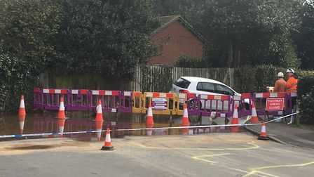 Holbrook sinkhole at the junction of The Street and Heathfield Road