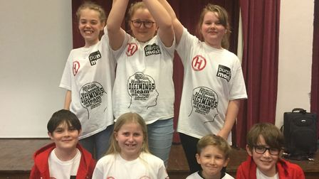 Members of Digiminds at Holbrook Primary celebrate winning a national competition. Picture: RICHARD