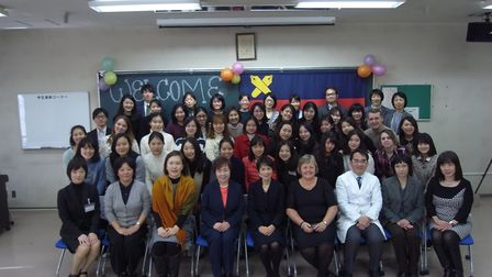 Suffolk students with fellow nursing learners from Keio University. Picture: Keio University