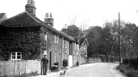 These cottages near Rushmere St Andrew Church were photographed around 1920.
