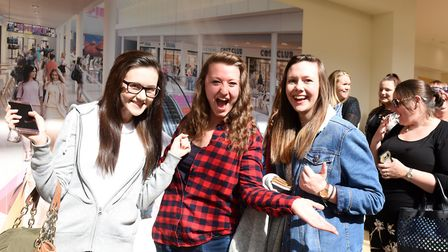 Peter Andre met his fans at the Buttermarket in Ipswich on Saturday April 1. L-R Jess Miller,Jess C