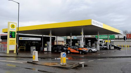 Morrisons Petrol Station in Sproughton. Stock image