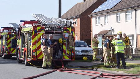 Emergency services attend the scene of an airing cupboard fire in Robin Drive,Ipswich.