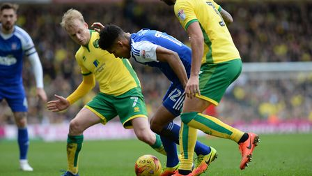 Jordan Spence in action for Ipswich Town against arch rivals Norwich City at Carrow Road. Picture: P