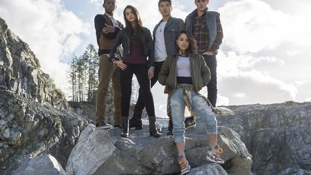 Naomi Scott (second from the left), who plays 'pink' Power Ranger Kimberly Hart in the 2017 film, is