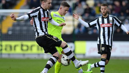 Sean Murray tries to get clear from Elliott Hewitt during last Saturday's 3-1 defeat to Notts County