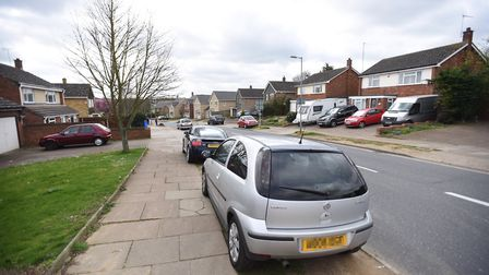 Parking on pavements around Gusford Primary (Sheldrake Drive). Picture: GREGG BROWN