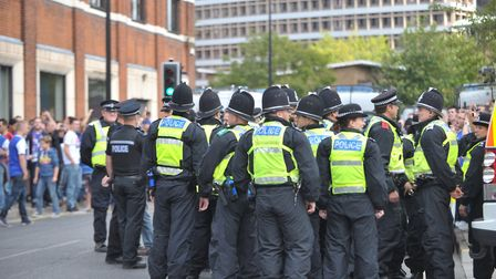 Police dominate the streets of Ipswich at the Ipswich v Norwich derby.