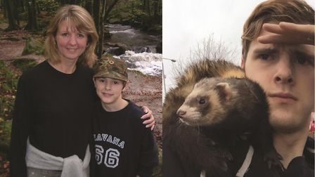 Charlie aged around 10 with his mum Jan, and with Bandit the ferret. Pictures: SUBMITTED