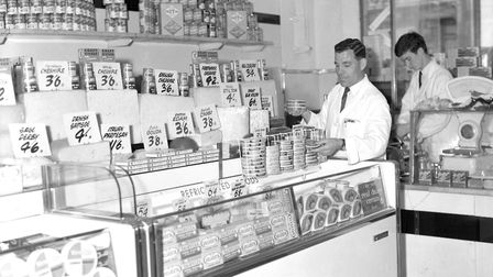 A range of cheeses at FootmanÕs store in 1966. (Photo by Ivan Smith/Archant).
