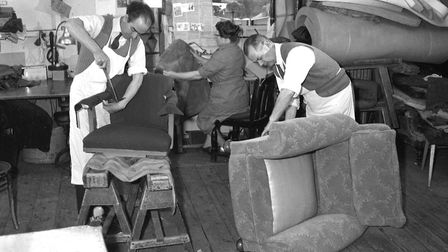 Furniture repairs and restoration at FootmanÕs in September 1966. (Photo by Ivan Smith/Archant).
