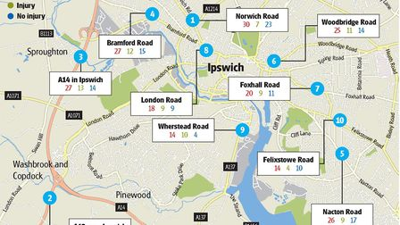 Map showing the top ten streets in Ipswich for road accidents. Graphic: Kayleigh O'Dell