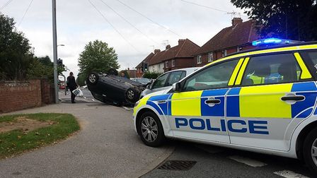 An overturned car in Nacton Road. Picture: Contributed