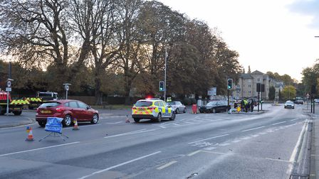 Police attend the scene of a road traffic collision on Norwich Road. Picture: Sarah Lucy Brown