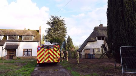 Firefighters tackle a shed fire at a property on The Street in Rushmere St Andrew. Picture:SARAH LUC