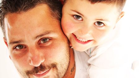 Dean Stansby with son Jack. Picture: Brendan Taylor at Taylor Made Portraits