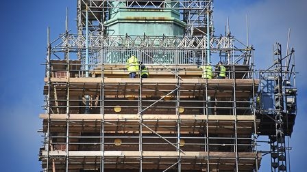 Norwich City Hall clock tower fully surrounded by scaffolding on April 5. Picture: ANTONY KELLY