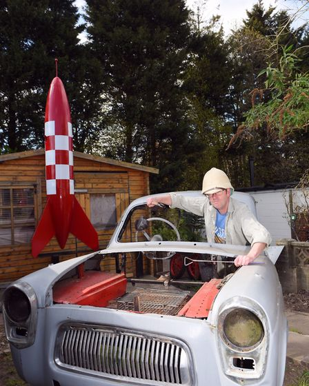 Handy Pete with his rocket and car-be-cue. Picture: SARAH LUCY BROWN